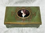 Antique French Limoges Enamel And Green Onyx Jewelry Box 19th Century