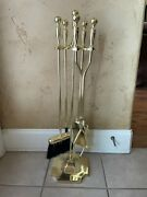 5pc Fireplace Tools Set Antique Brass Finish