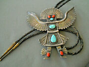 Native American Turquoise Coral Sterling Silver Eagle Dancer Etched Bolo Tie 5x5