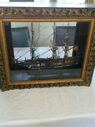 Antique Wooden Ship Model Cased. Local Pickup Only No Shipping No Exceptions