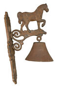 Vintage Cast Iron Horse Wall Mounted Dinner Welcome Bell 13andrdquo H With 5andrdquo Wide Bell