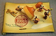 Disney 100th Anniv. 12 X 8 Signed Scroll W/5 Figures And Quill Pen Le Nib Mint
