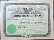 Montana Drug Store/pharmacy 1904 Stock Certificate And039christie And Leys Co.and039 - Mt