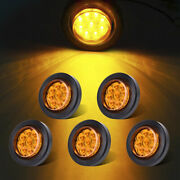 5x Amber 2 Round Clearence Truck Trailer Rv Side Marker Light 9led Sealed Light