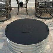 Fire Pit Lid, 40 Outer Diameter. 10 Letter And 2 Handles On The Top. Flat 1/8