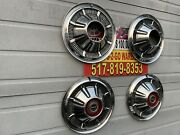"""1966-77 Ford Bronco 4x4 F100 Truck Hubcaps Set 4 Very Rare Beautiful 15"""" Red"""