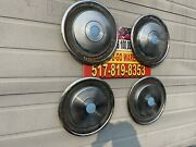 Airstream 15andrdquo Set 4 Hubcaps Full Wheel Covers Used 1959-1978 Stainless Lite Blue