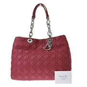 Auth Christian Dior Lady Cannage Tote Hand Bag Nylon Leather Pink Italy 42bt451