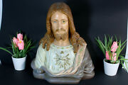 Antique Chalkware Sacred Heart Christ Bust Statue Religious Signed