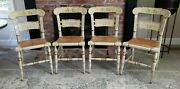 Set Of 4 Vintage Ethan Allen Button Back Hitchcock Chairs Cream And Gold Rare