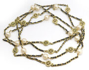 Leather Pearl Long Chain Necklace 81 Gold Tone 94a Vintage Excellent 7