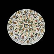 30and039and039 White Marble Coffee Center Table Top Inlay Antique Mosaic Peacock Round P3