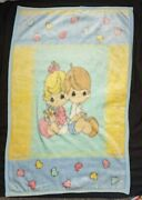 2001 Precious Moments Boy Girl Acrylic Baby Blanket Heart Flowers Crown Crafts