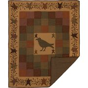 Heritage Farms Applique Crow And Star Hand Quilted Throw - 60w X 50l Primitive