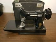 Vintage Singer Featherweight 221 Portable Sewing Machine W/ Case For Parts