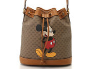 Disney Collaboration 602691 Mickey Small Bucket Bag Beige Used Excellent
