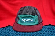 Supreme Leather And Suede Multi Color 5 Panel Hat Cap Adjustable Made In Usa