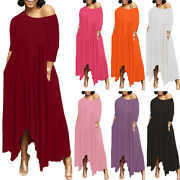Plus Size Womens Sexy 3/4 Sleeve Maxi Dress Ladies Holiday Party Swing Sundress