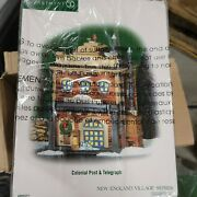 Dept 56 Colonial Post And Telegraph Porcelain Christmas New England Village 805527
