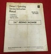 Antique Mtd 26 Riding Mower Owners Manual Model 136-400a