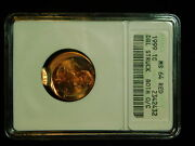 1999-p Lincoln Memorial Cent- Anacs Ms64 Red Double Struck Off Center Mint Error