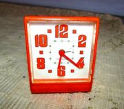 Antique Vintage Alarm Clock Beautiful Orange Made In Germany 1969and039s