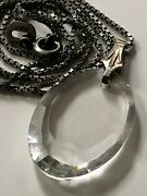 Vintage 30s Art Deco Sterling Silver/glass Pendant And '925' Chain Necklace 6.12g
