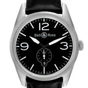Bell And Ross Vintage Black Dial Steel Mens Watch Br123 Box Card