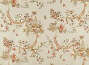 Cowtan And Tout Whimsical Pagodas Chinoiserie Fabric Toile 10 Yards Coral Amber