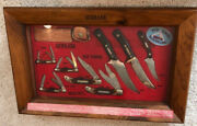 Schrade Walden Old Timer Usa Mid 1970s Knife Display With 8 Knives And Honesteel