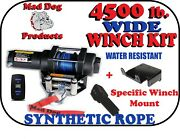 4500 Mad Dog Wide Synthetic Winch/mount Kit For 2021 Honda Pioneer 520