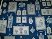 Stroheim And Romann Neoclassical Grecian Toile Fabric 10 Yards Blue White