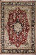 Wool/ Silk Floral Red Aubusson Vegetable Dye Oriental Area Rug Hand-knotted 6x9