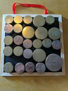 Starbucks Christmas Advent Calendar Magnetic Board Tin Cans Gold No Gift Card