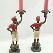 Antique Bronze Blackamoor Statue Candlesticks Cold Painted Early 1800s Art