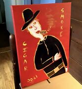 Cigar Smoke Tobacciana Man Painting On Stretched Canvas..12 X 16 By Jordok