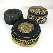Men's Kufi Black Brown Gold Embroidered Rigid Style Muslim Hat Topi 23 / 58cm