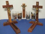 3 Wood Crucifixes Two W/ Compartments And 4 Glasses W/ Scenes From Jesus's Life