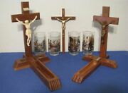 3 Wood Crucifixes 2 W/ Compartments And 4 Glasses With Scenes From Jesus's Life