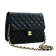 Small Chain Shoulder Bag Clutch Black Quilted Flap Lambskin C19