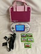 Pink Carry Case Leapfrog Leapster Explorer Console 5 Games Car Charger Tested