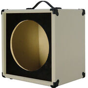 1x12 Guitar Speaker Extension Empty Cabinet Ivory White With Blk Texture Front