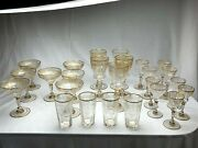 Good Condition Antique Gold Leaf And Handcut Glasses With Initials E.m.
