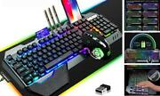 Wireless Gaming Keyboard Mouse And Mouse Pad Kit,3 In 1 Rgb Backlit Rechargeable