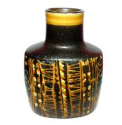 Royal Copenhagen Pottery Vase And039 Black And Yellow And039 1st Quality 7667