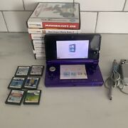 Nintendo 3ds Midnight Purple Usa English Ctr-001 W/ 14 Games And Oem Charger