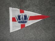 Vintage Wool/nylon Mix Yacht Pennant Flag Blue Crown Maritime Boats
