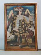 Oil On Canvas With Gold Leaf Applications, Colonial Spanish School Cuzco,old.