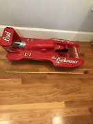 46 Amazing Vintage Miss Budweiser Hydroplane Boat W. Motor And Handmade Stand