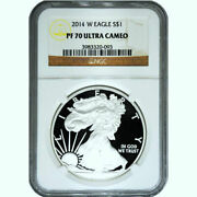 2014-w 1 Proof Silver American Eagle ✪ Ngc Pf-70-ucam ✪ Pr Ultra Cameo◢trusted◣